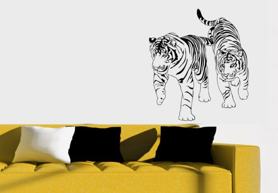 wandtattoo tiger mit stolzen raubkatzen auf safari wall. Black Bedroom Furniture Sets. Home Design Ideas