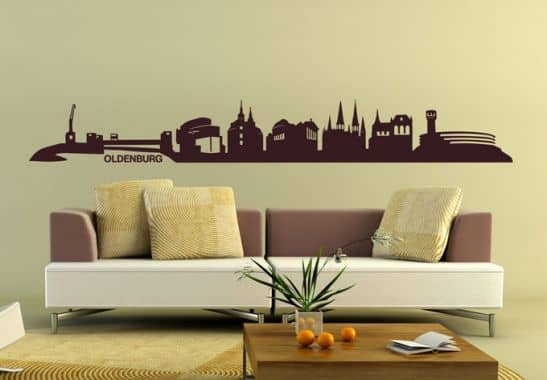 wandtattoo oldenburg skyline dekoratives wandtattoo mit der skyline von oldenburg in. Black Bedroom Furniture Sets. Home Design Ideas