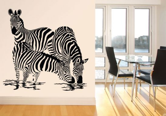 wandtattoo zebras 2 drei trinkende zebras wie bei einer safari wall. Black Bedroom Furniture Sets. Home Design Ideas