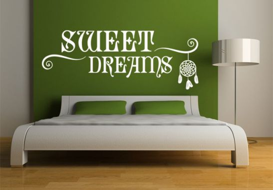 wandtattoo wandtattoo sweet dreams traumf nger. Black Bedroom Furniture Sets. Home Design Ideas