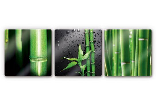 glasbilder glasbild bambus set quadratisch 3 teilig. Black Bedroom Furniture Sets. Home Design Ideas