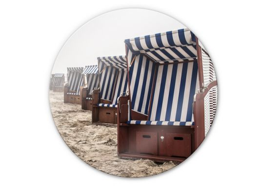 glasbilder strandkorb auf norderney rund. Black Bedroom Furniture Sets. Home Design Ideas