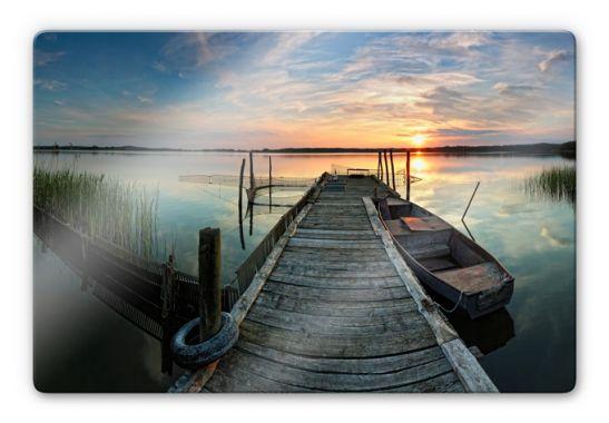 glasbild sundset at the lake romantische kulisse auf. Black Bedroom Furniture Sets. Home Design Ideas
