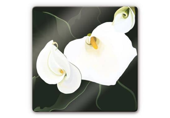 calla lily 3 glass art wall. Black Bedroom Furniture Sets. Home Design Ideas