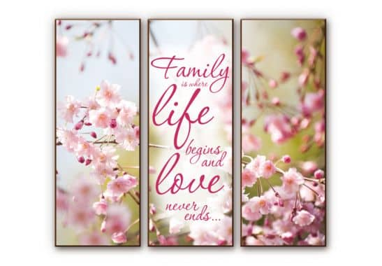 wanddecoratie hdf family is where life begins 3delig