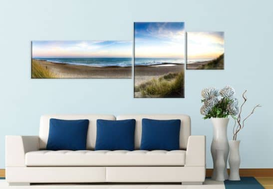 leinwandbild strandpanorama in 3 tielen wall. Black Bedroom Furniture Sets. Home Design Ideas