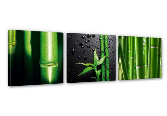 3 teiliges leinwand set bamboo over black asiatische. Black Bedroom Furniture Sets. Home Design Ideas