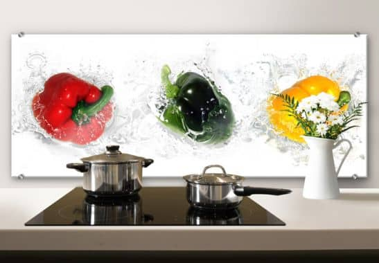 spatscherm splashing paprika panorama wall. Black Bedroom Furniture Sets. Home Design Ideas
