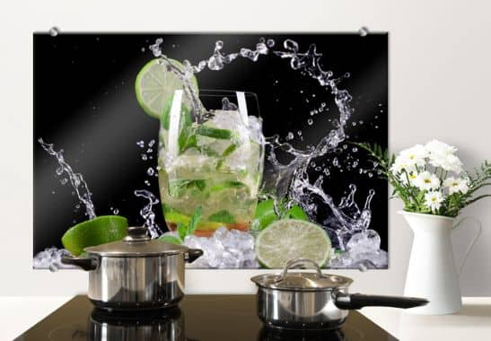 Cr dence splashing mojito wall - Credence decorative en verre ...