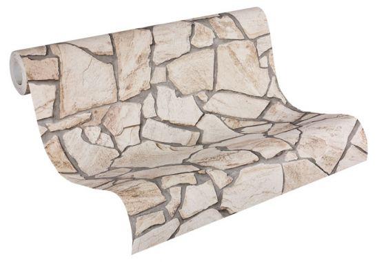 Esprit-Tapeten Beige-Braun : steinoptik Tapete Wood'n Stone Beige, Braun, Grau wall-art.de
