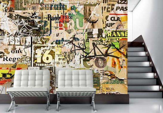 vliestapete abgerissene poster exklusiv aus der wall art kollektion wall. Black Bedroom Furniture Sets. Home Design Ideas