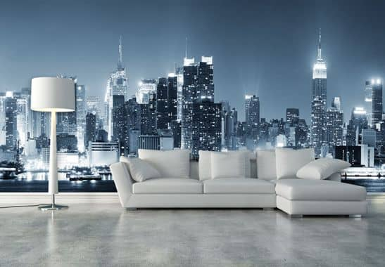 wallpapers photo wallpapers new york at night 1 fleece wallpaper wall. Black Bedroom Furniture Sets. Home Design Ideas