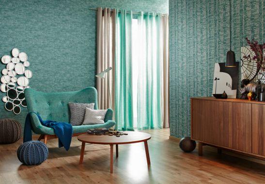 sch ner wohnen vliestapete blau gr n wall. Black Bedroom Furniture Sets. Home Design Ideas