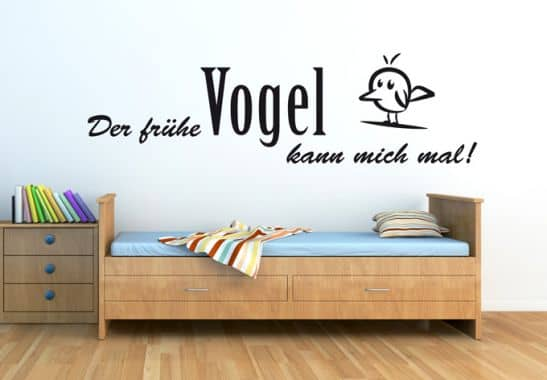 wandtattoo der fr he vogel kann mich mal deko f r. Black Bedroom Furniture Sets. Home Design Ideas