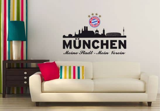 wandtattoo fc bayern skyline mein verein mit logo wall. Black Bedroom Furniture Sets. Home Design Ideas