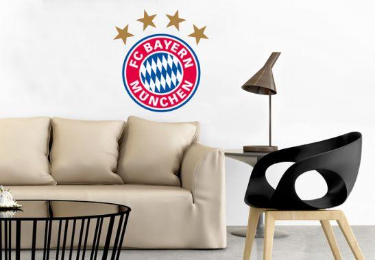 Fototapeten Jugendzimmer M?dchen : FC Bayern M?nchen Logo – originales FCB Wandtattoo wall-art.de