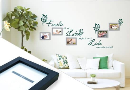 wandtattoo familie ist wo leben beginnt inkl 5 bilderrahmen wall. Black Bedroom Furniture Sets. Home Design Ideas