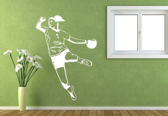 wandtattoo handballerin wall. Black Bedroom Furniture Sets. Home Design Ideas