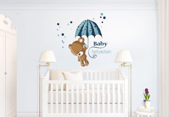 wandtattoo name baby blau wall. Black Bedroom Furniture Sets. Home Design Ideas