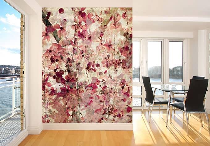 fototapete vintage bl tenmuster abstrakte blumenwiese f r zuhause wall. Black Bedroom Furniture Sets. Home Design Ideas