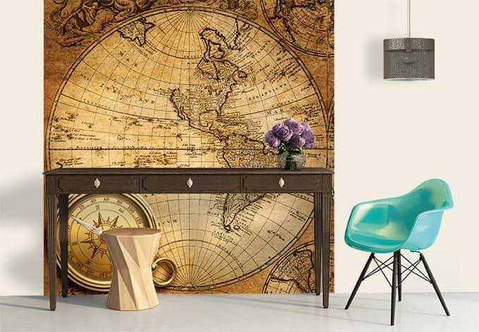 fototapete entdecker seefahrerkarte als dekoidee wall. Black Bedroom Furniture Sets. Home Design Ideas