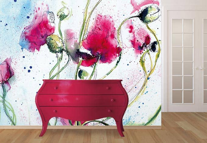 fototapete mohnblume aquarell sch ne malerei f r ihre wand wall. Black Bedroom Furniture Sets. Home Design Ideas