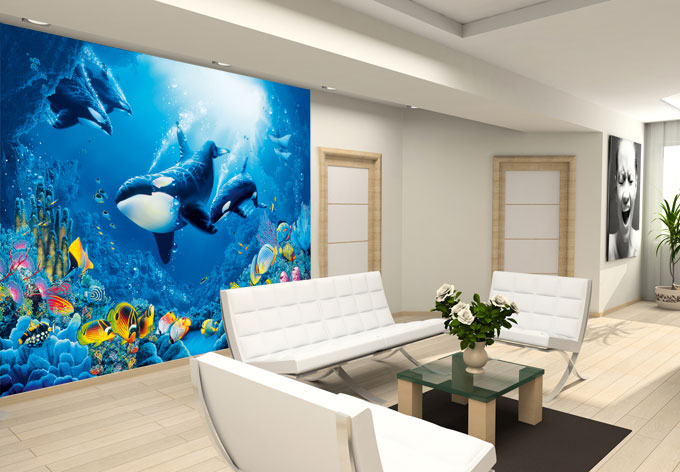fototapete papiertapete ozean tapete mit wal und fischen wall. Black Bedroom Furniture Sets. Home Design Ideas