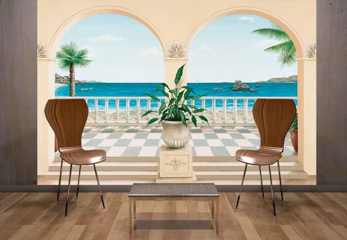 fototapete papiertapete terrasse provencale franz sische deko mit der fototapete wall. Black Bedroom Furniture Sets. Home Design Ideas