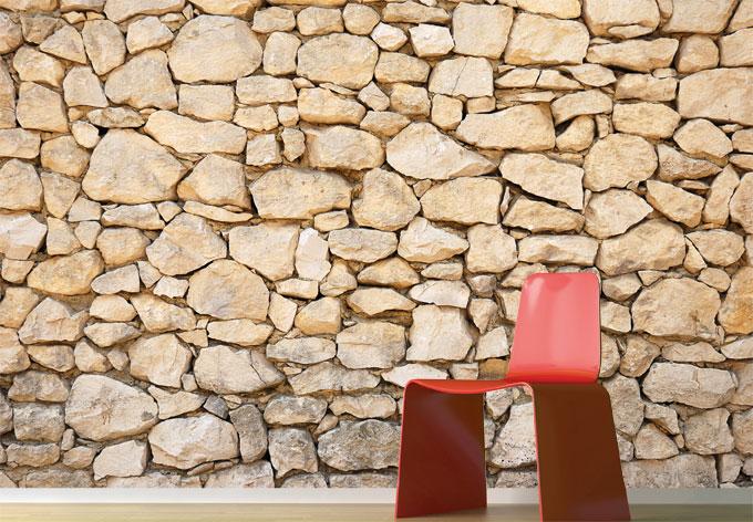 Fototapete mauer maueroptik als dekoration wall for Tapete natursteinoptik