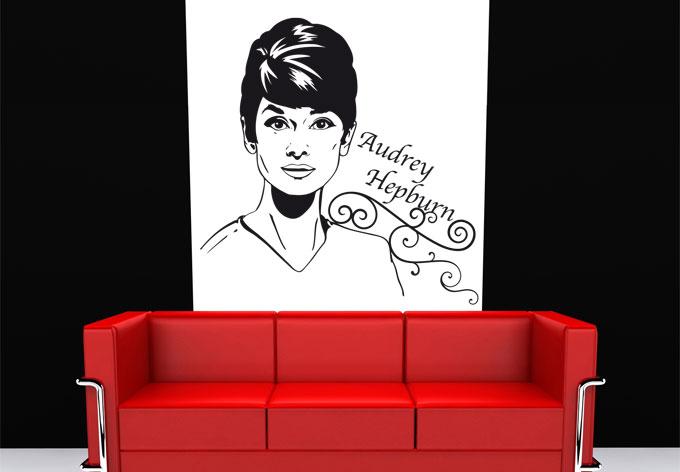 audrey hepburn ber wandtattoo king kaufen und sparen. Black Bedroom Furniture Sets. Home Design Ideas