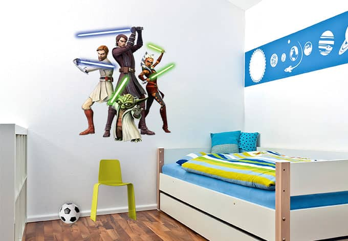 clone wars heroes star wars wandaufkleber wall. Black Bedroom Furniture Sets. Home Design Ideas