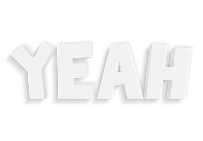 Dekobuchstaben 3D Yeah