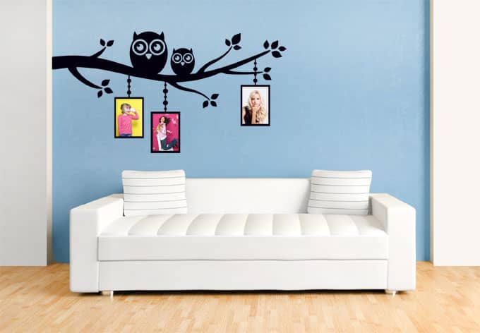 wandtattoo zweig mit eulen inklusive fotorahmen wall. Black Bedroom Furniture Sets. Home Design Ideas