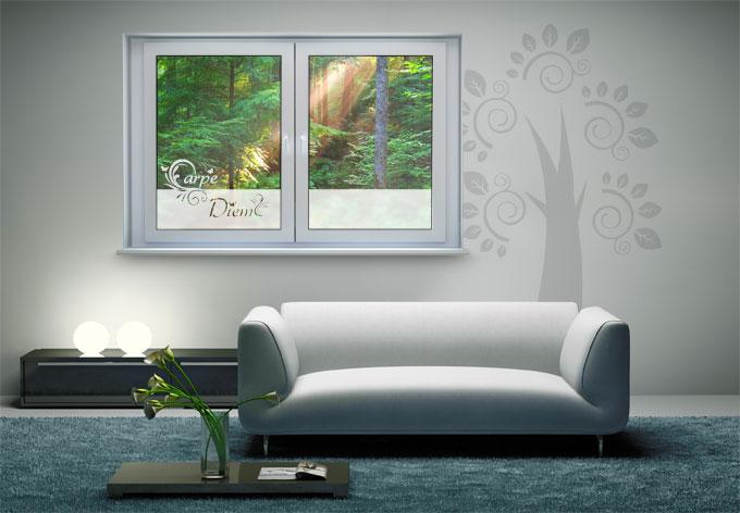 fensterdekor carpe diem milchglasfolie f r bad und. Black Bedroom Furniture Sets. Home Design Ideas