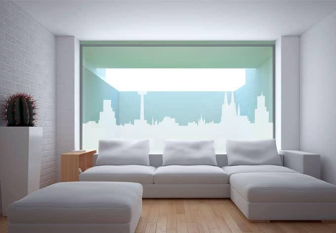 fensterdekor k ln skyline glasfolie im milchglas optik wall. Black Bedroom Furniture Sets. Home Design Ideas
