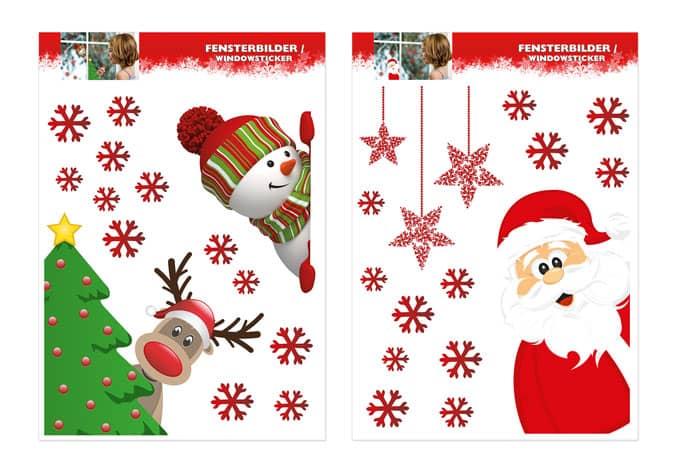 2 teiliges set fenstersticker weihnachtsmann schneemann und rentier wall. Black Bedroom Furniture Sets. Home Design Ideas