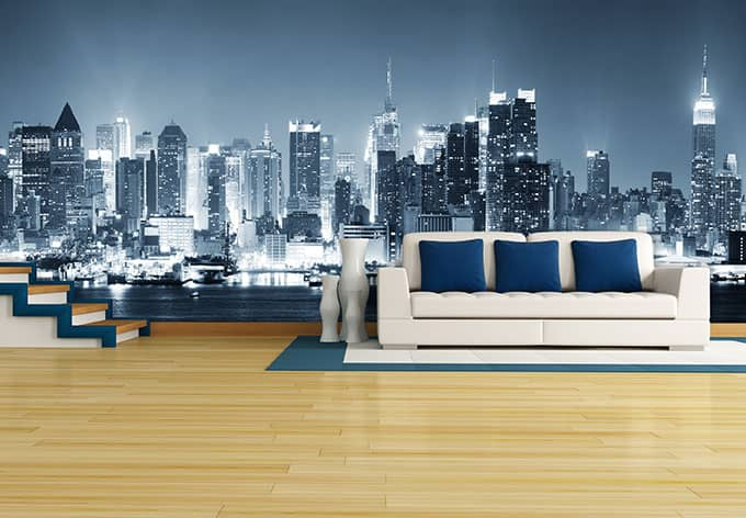 fototapete new york at night 1 im panoramaformat von k l. Black Bedroom Furniture Sets. Home Design Ideas