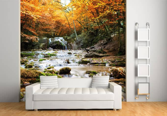 fototapete herbstwald mit wasserfall wall. Black Bedroom Furniture Sets. Home Design Ideas