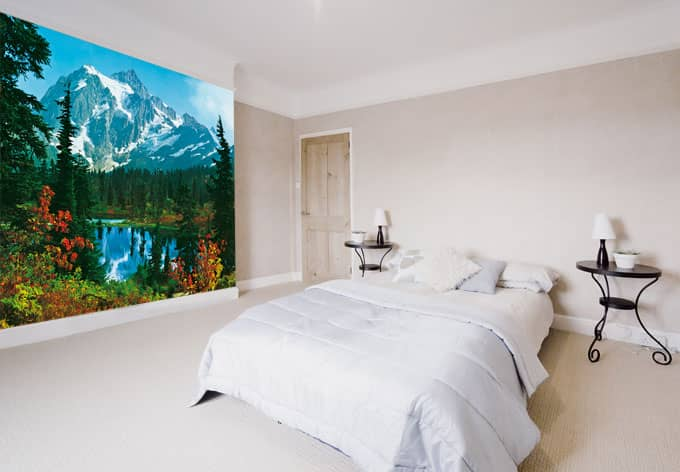 fototapete papiertapete bergidyll tapete mit alpen und bergsee wall. Black Bedroom Furniture Sets. Home Design Ideas