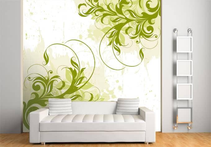 fototapete ornament gr n geschwungene dekoration von k l. Black Bedroom Furniture Sets. Home Design Ideas