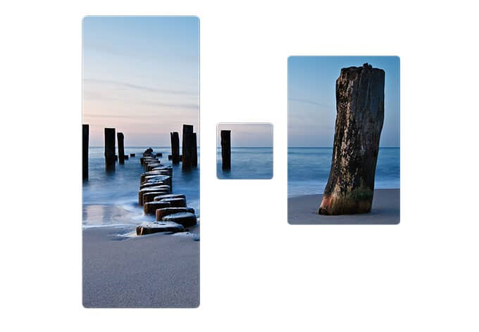Tableau en verre shore in wall for Tableau en 3 parties