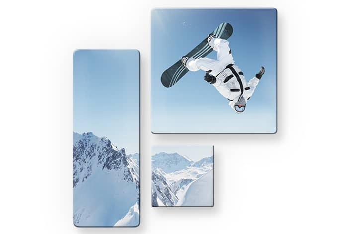 snowboarder 3 teilig stylisches motiv auf elegantem glas wall. Black Bedroom Furniture Sets. Home Design Ideas