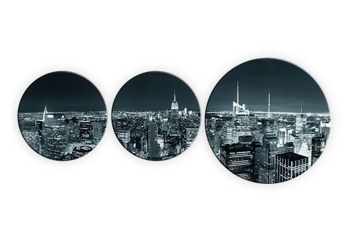 rundes glasbilder new york at night 1 set von k l wall art. Black Bedroom Furniture Sets. Home Design Ideas
