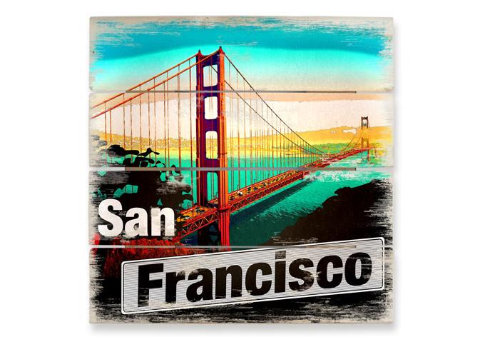 Houten Wanddecoratie San Francisco Cartoon - wall-art.nl