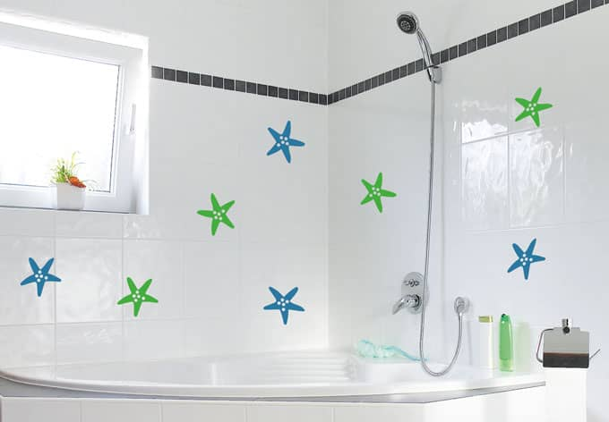 Tile decor star fish wall sticker wall for Bathroom tile stickers
