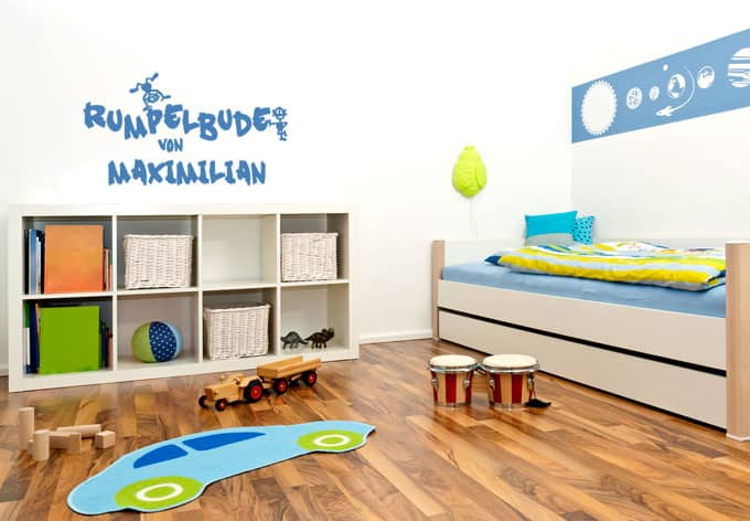 wandtattoo mit namen rumpelbude deko f r kinderzimmer. Black Bedroom Furniture Sets. Home Design Ideas