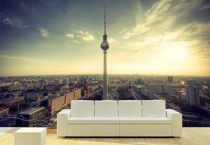 fototapete berliner fernsehturm im panoramaformat von k l. Black Bedroom Furniture Sets. Home Design Ideas