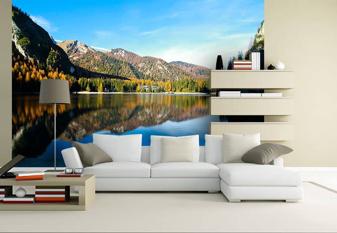 fototapete sommer in den bergen herrschaftliche deko f r die wand wall. Black Bedroom Furniture Sets. Home Design Ideas