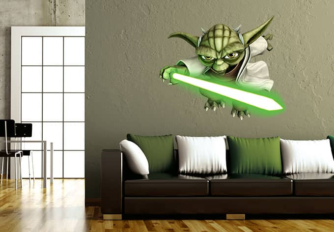 flying yoda star wars the clone wars wandtattoo wall. Black Bedroom Furniture Sets. Home Design Ideas