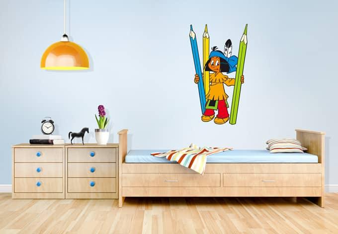 wandtattoo yakari buntstifte kinderzimmer deko f r die. Black Bedroom Furniture Sets. Home Design Ideas